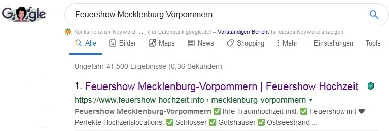 Google Suchanfrage